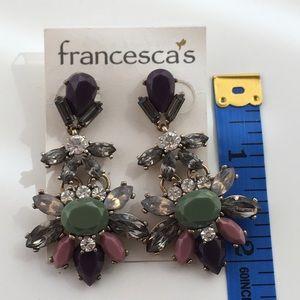 Green Purple Chandelier Statement Earrings